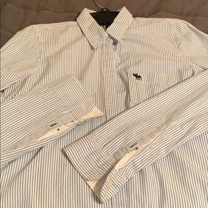 White and blue striped dress shirt